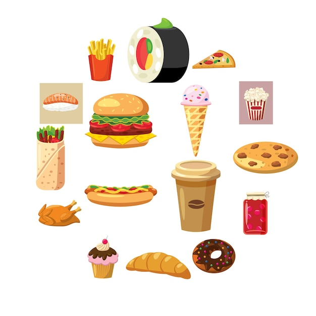 Icônes de nourriture Vecteur Premium