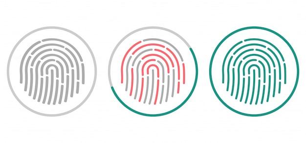 Icônes De Numérisation D'empreintes Digitales Vecteur Premium