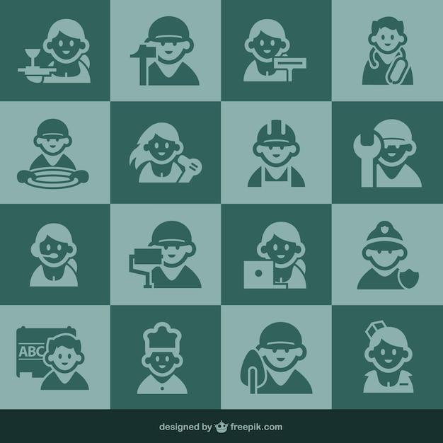 Icônes d'occupation et les icônes de personnes Vecteur gratuit