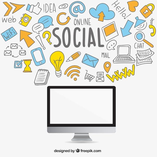 Icônes et ordinateur de médias sociaux sketchy Vecteur Premium