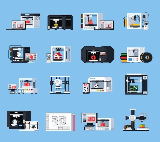 Icônes orthogonales d'impression 3d Vecteur gratuit