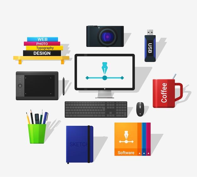 Icônes D'outils De Concepteurs Dans Un Style Plat Et Grandissime. Style Plat Détaillé. Vecteur Premium