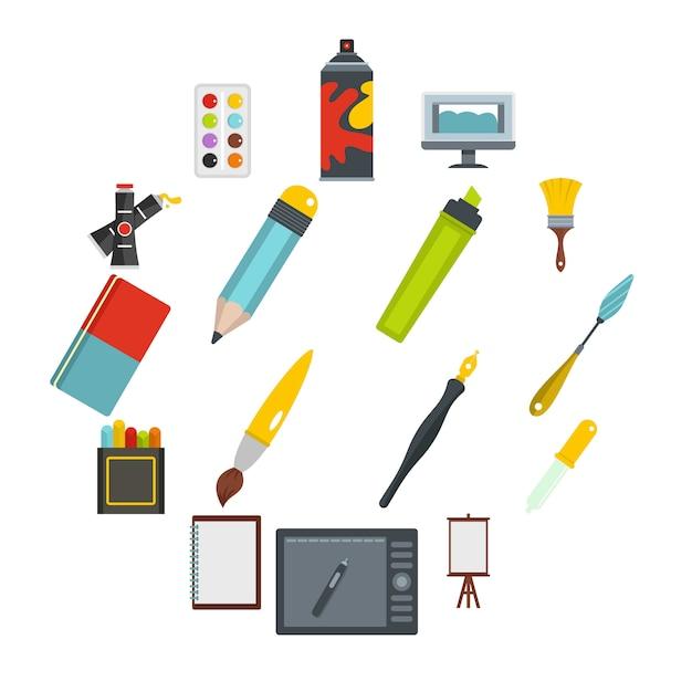 Icônes D'outils De Conception Et De Dessin Définis Dans Un Style Plat Vecteur Premium