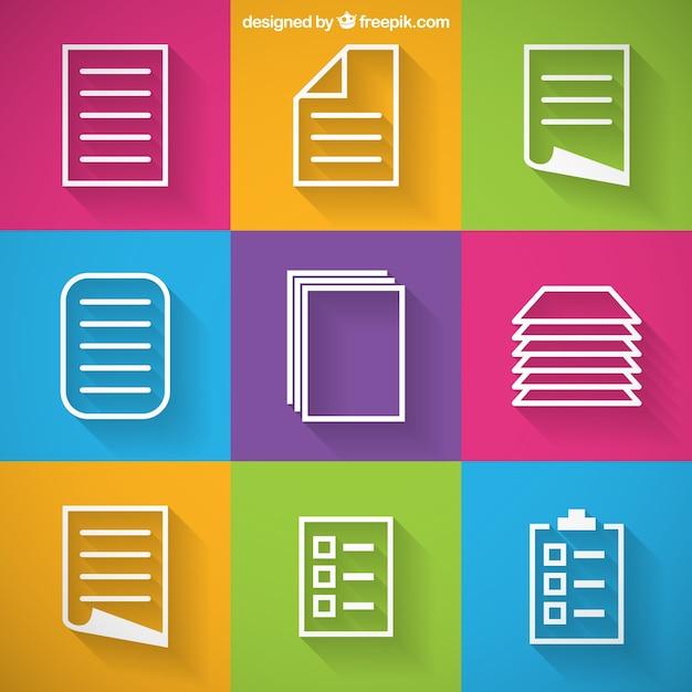 Icônes de papier Vecteur gratuit