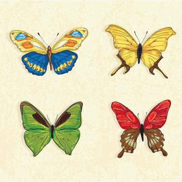 Icônes papillon (ensemble de collection) sur fond vintage Vecteur Premium