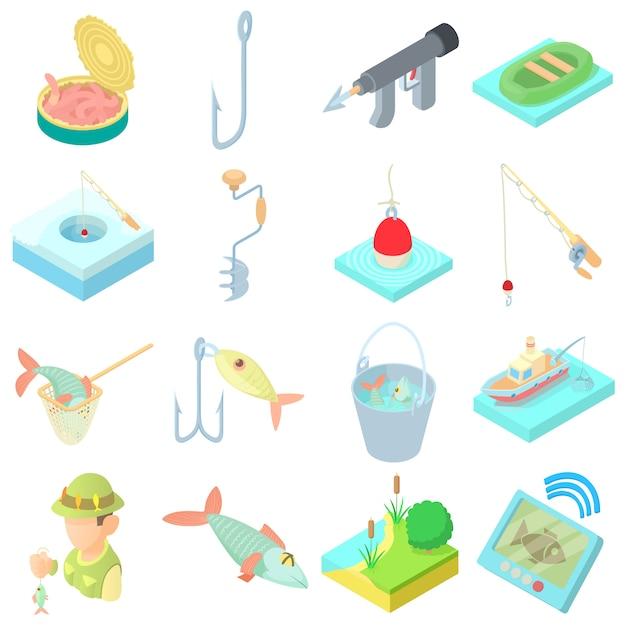 Icônes de pêche en style cartoon Vecteur Premium