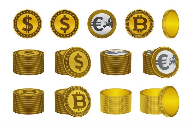 Icônes de la pièce d'or bitcoin dollar euro Vecteur Premium