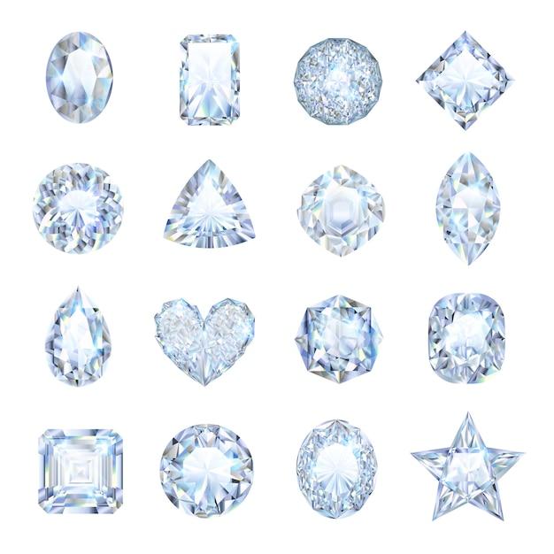 Icônes de pierres précieuses réalistes sertie de forme différente isolée Vecteur gratuit