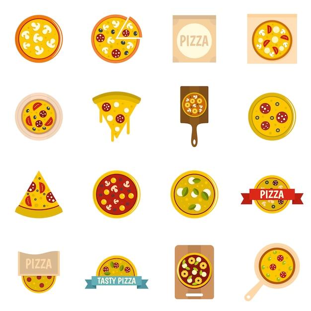 Icônes de pizza dans le style plat Vecteur Premium