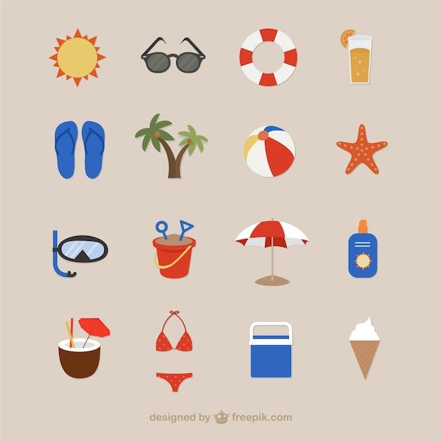 Icônes de plage pour l'été Vecteur gratuit
