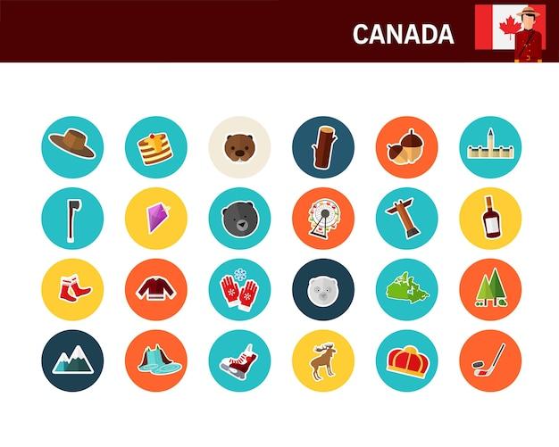Icônes Plat Concept Canada Vecteur Premium