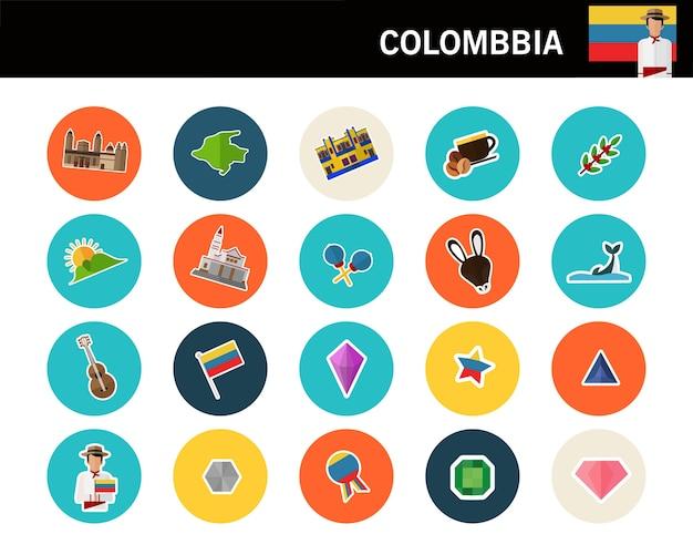 Icônes Plat Concept Colombie Vecteur Premium