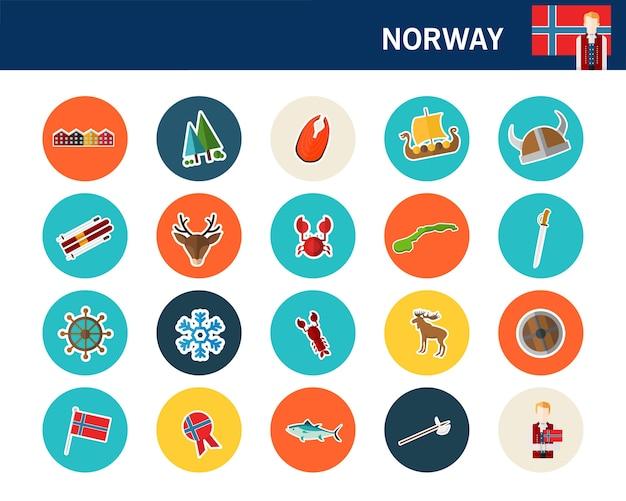 Icônes plat concept norvège Vecteur Premium