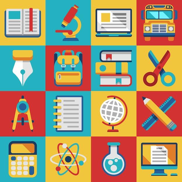 Icônes Plat Modernes D'éducation Scolaire Et Universitaire Vecteur Premium