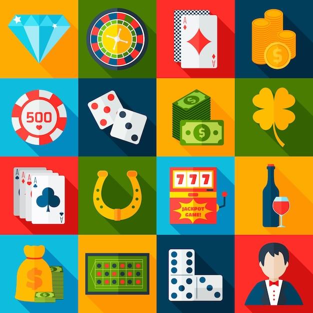 Icônes plates de casino Vecteur gratuit