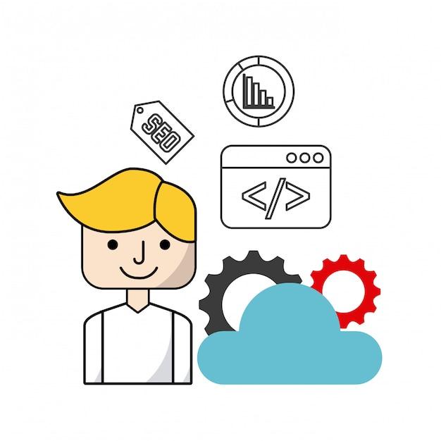Icônes Plates D'optimisation De Moteur De Recherche Vecteur Premium