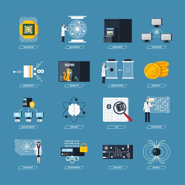 Icônes Plates Pour L'informatique Quantique Vecteur gratuit