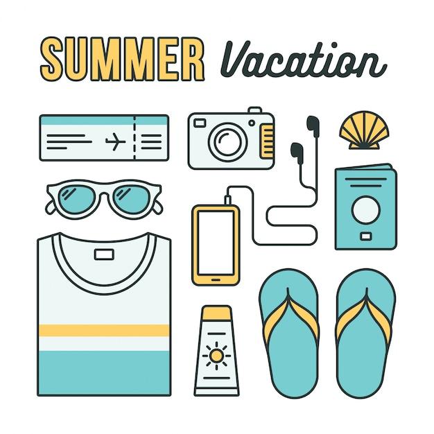 Icônes Plates De Vacances D'été. Essentiels De Vacances: Vêtements, Accessoires Et Documents De Voyage Disposés à Plat. Vecteur Premium