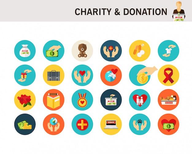 Icônes plats de concept de charité & don. Vecteur Premium