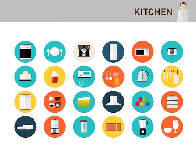 Icônes plats de concept de cuisine. Vecteur Premium