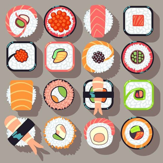 Icônes plats de cuisine japonaise sushi Vecteur Premium
