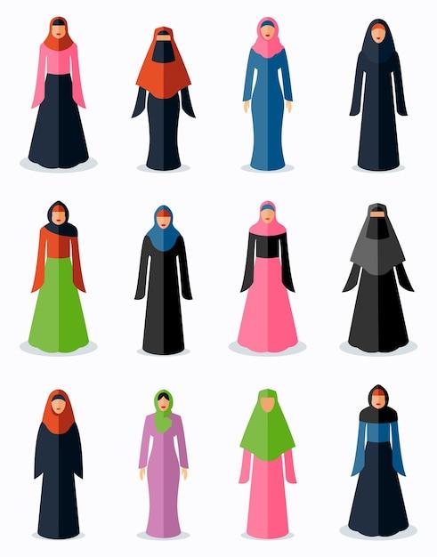 Icônes Plats De Femme Musulmane. Culture Traditionnelle Féminine, Religion De L'islam Arabe, Illustration Vectorielle Vecteur gratuit