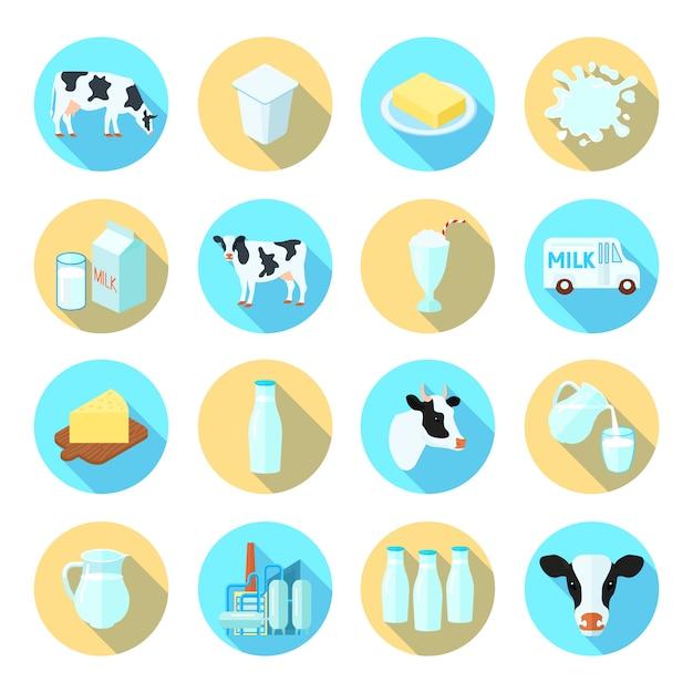 Icônes plats de production laitière production laitière sertie de beurre au fromage rond ombre abstraite isolé Vecteur Premium