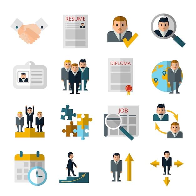 Icônes plats stratégie de recrutement du personnel des ressources humaines sertie de curriculum vitae et diplôme Vecteur gratuit