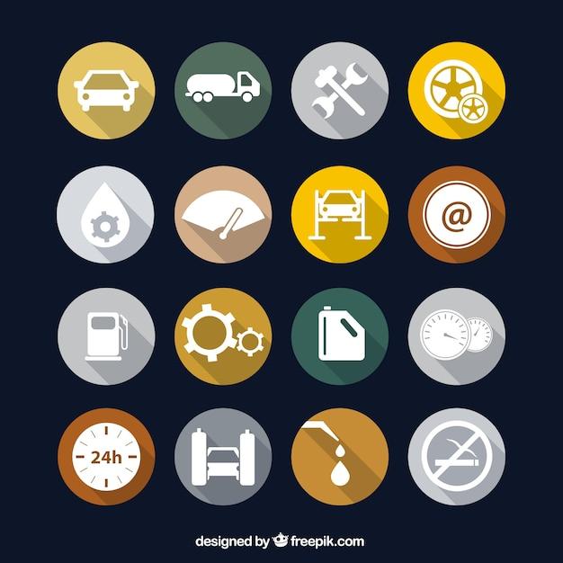 Icônes des postes à essence Vecteur gratuit