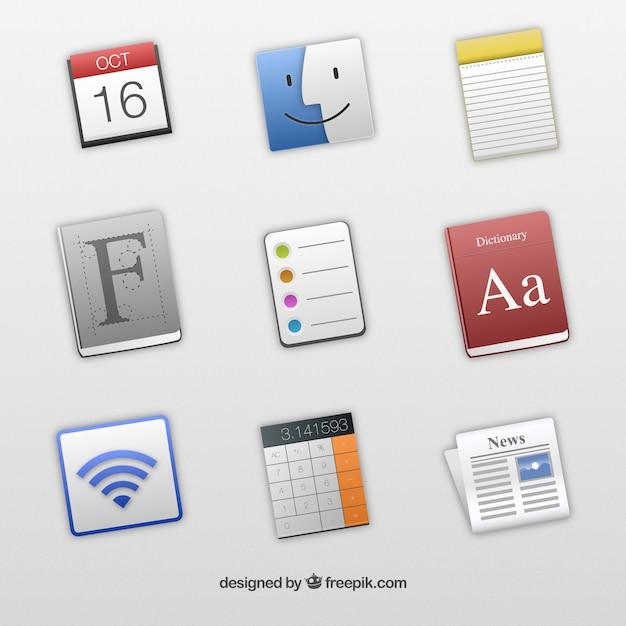 Icônes Pour Les Applications De Mac Vecteur gratuit
