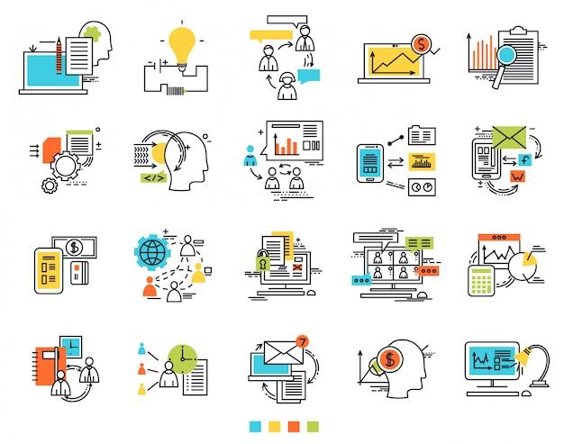 Icônes pour l'idée d'ingénierie e-business Vecteur Premium