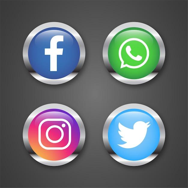 Icônes pour l'illustration des réseaux sociaux Vecteur Premium