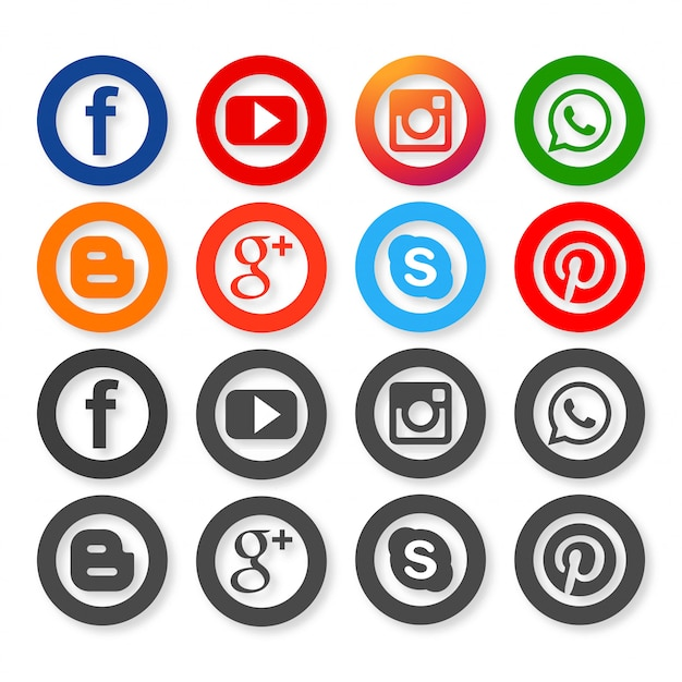 Icônes pour les réseaux sociaux Vecteur gratuit