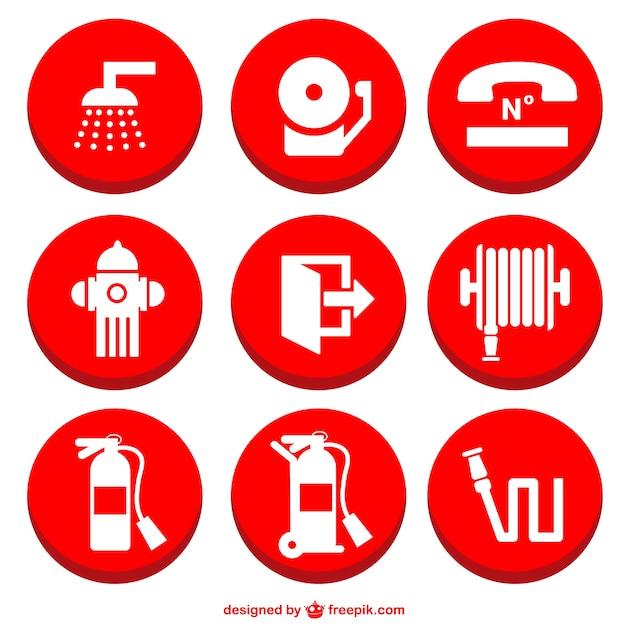 Icônes de prévention des incendies fixés Vecteur gratuit