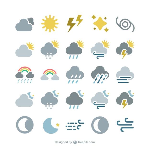 Icônes de prévision météo Vecteur gratuit