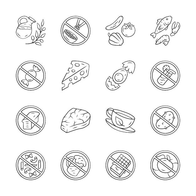 Icônes de produits à faible teneur en glucides et à haute teneur en protéines Vecteur Premium
