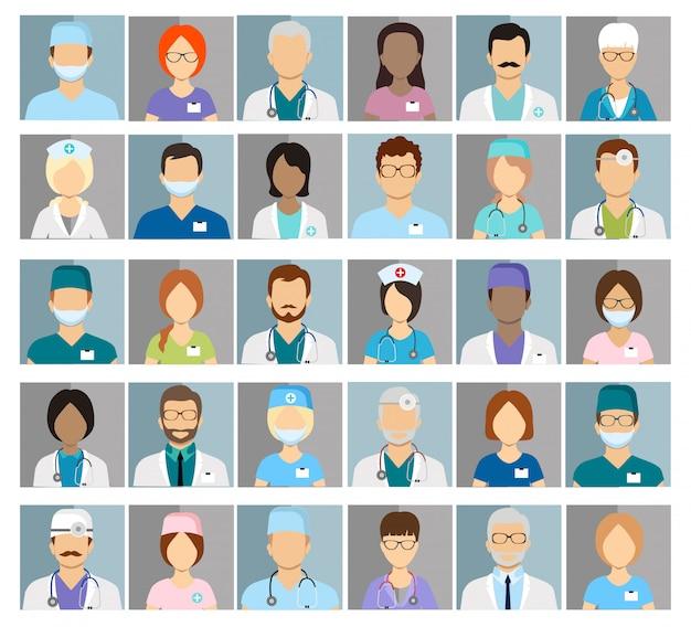 Icônes De Profil De Médecins Et D'infirmières. Avatars De Chirurgien Et Thérapeute, Oculiste Et Nutritionniste Vecteur Premium