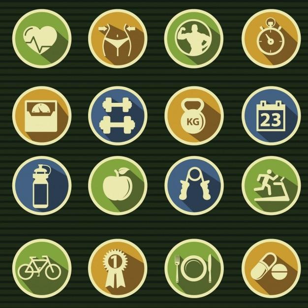 Les icônes à propos de la gymnastique Vecteur gratuit