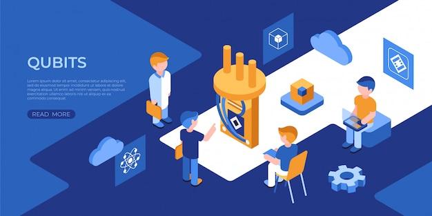 Icônes Quantiques Et Qubits Avec Des Personnes Vecteur Premium