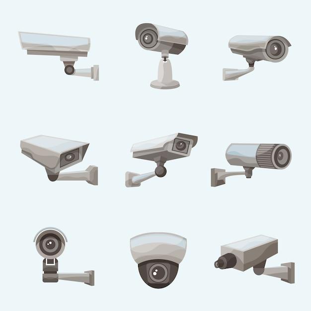 Icônes Réalistes De Caméra De Surveillance Vecteur gratuit