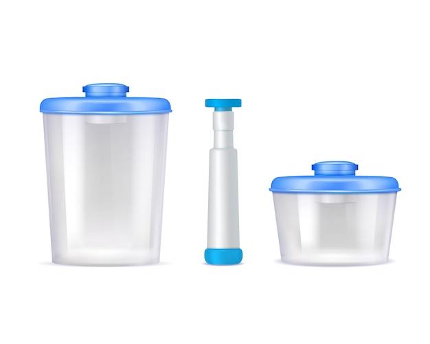 Icônes réalistes de conteneurs alimentaires sous vide en plastique Vecteur gratuit