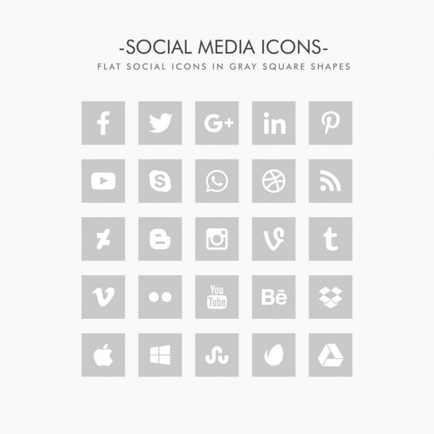 Icônes de réseaux sociaux en couleur grise plat Vecteur gratuit