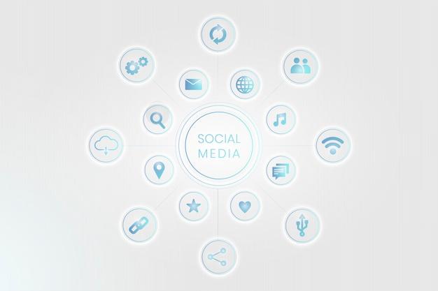 Icônes de réseaux sociaux Vecteur gratuit