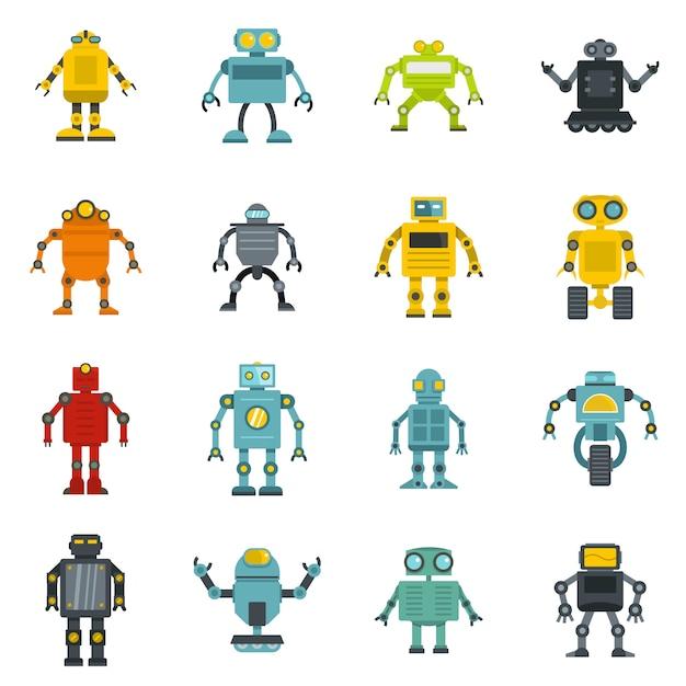 Icônes de robot définies dans un style plat Vecteur Premium