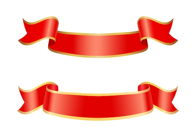 Icônes de ruban de bannières définies illustration vectorielle Vecteur Premium