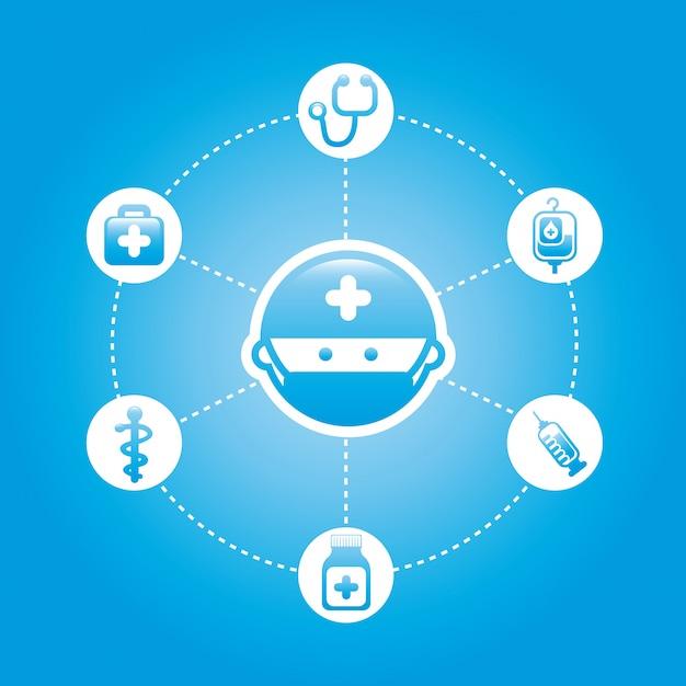 Icônes saines sur illustration vectorielle fond bleu Vecteur Premium