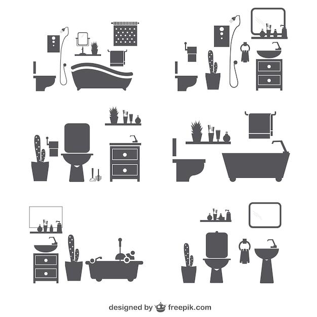 Icônes salle de bains silhouette Vecteur gratuit