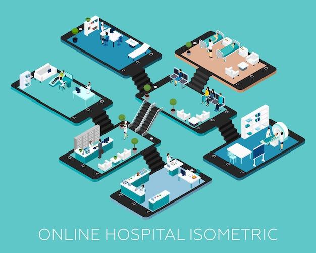 Icônes de schéma isométrique d'hôpital en ligne Vecteur gratuit