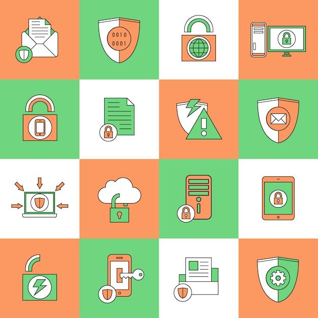 Icônes de sécurité de protection des données Vecteur Premium