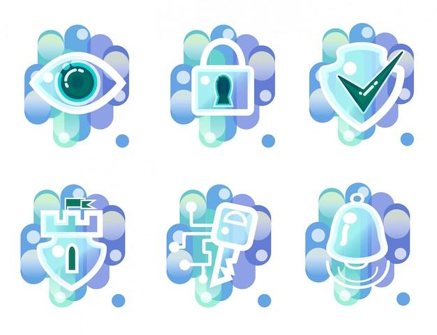 Icônes de sécurité, surveillance, accès par clé, alarme Vecteur gratuit